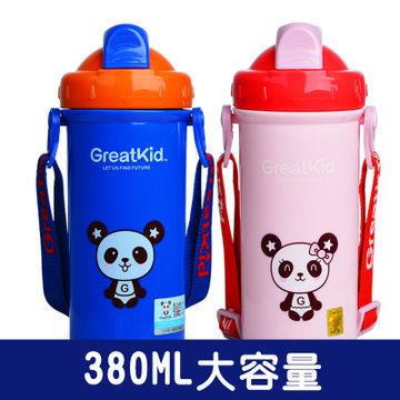 冠迪婴幼儿童宝宝学饮杯子 宝宝学喝水杯子 宝宝水壶背带防漏 儿童带吸管水杯子