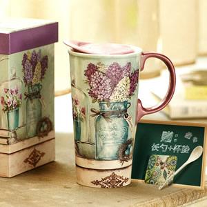 爱屋格林手绘陶瓷杯礼盒装创意咖啡杯带盖水杯马克杯 配长勺杯垫
